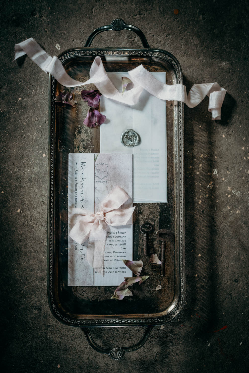 industrial luxe wedding stationery