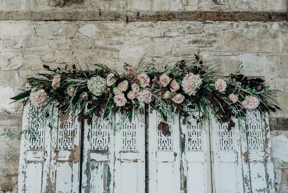 industrial luxe wedding backdrop