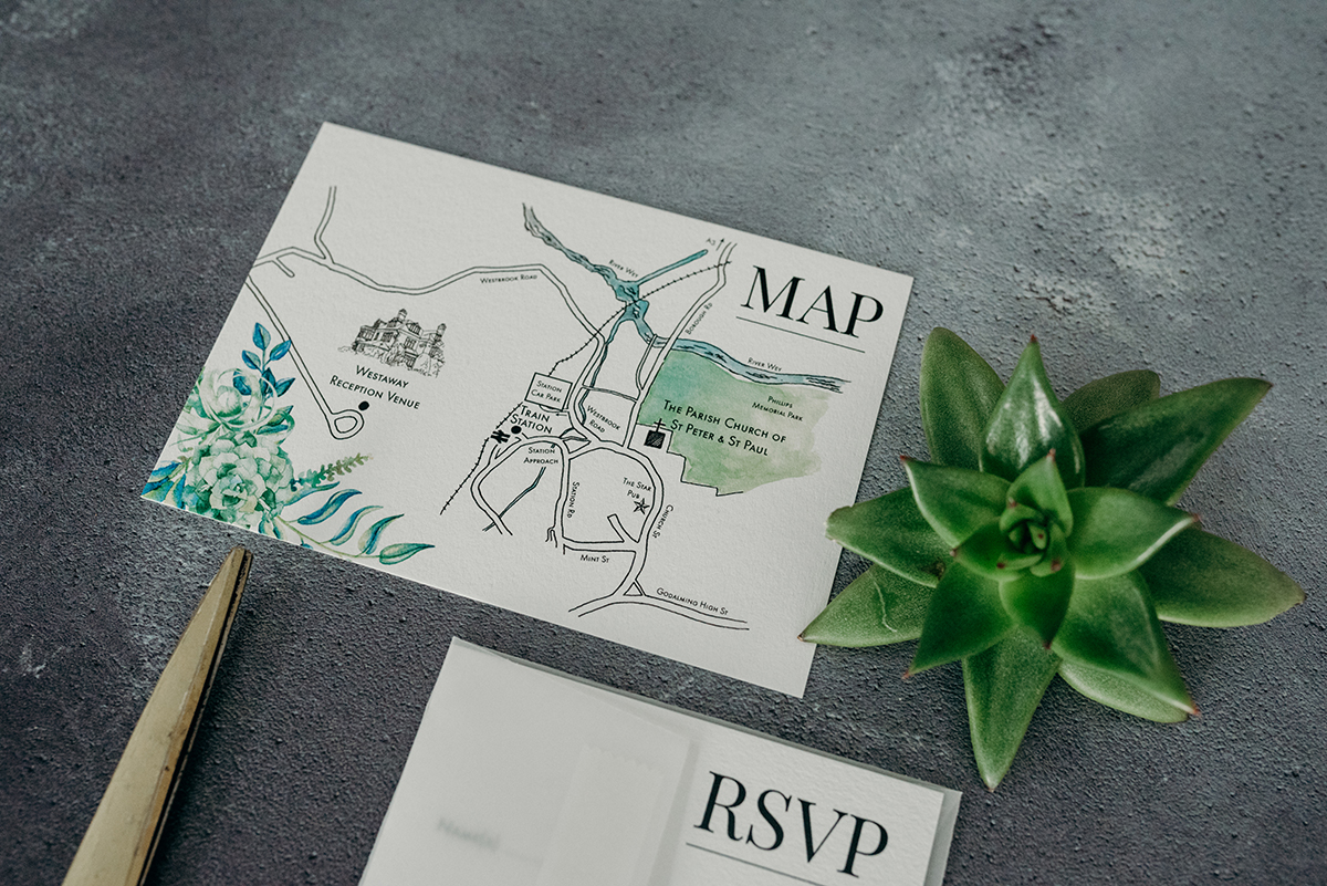 Knots & Kisses Hand-painted map for wedding invitation
