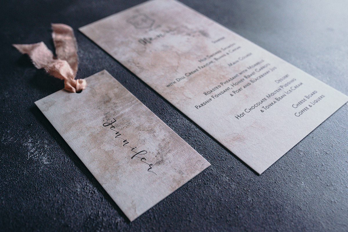 knots & kisses industral luxe reception stationery