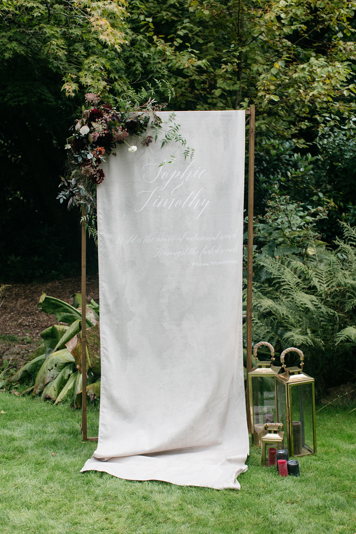 fabric banner ceremony backdrop