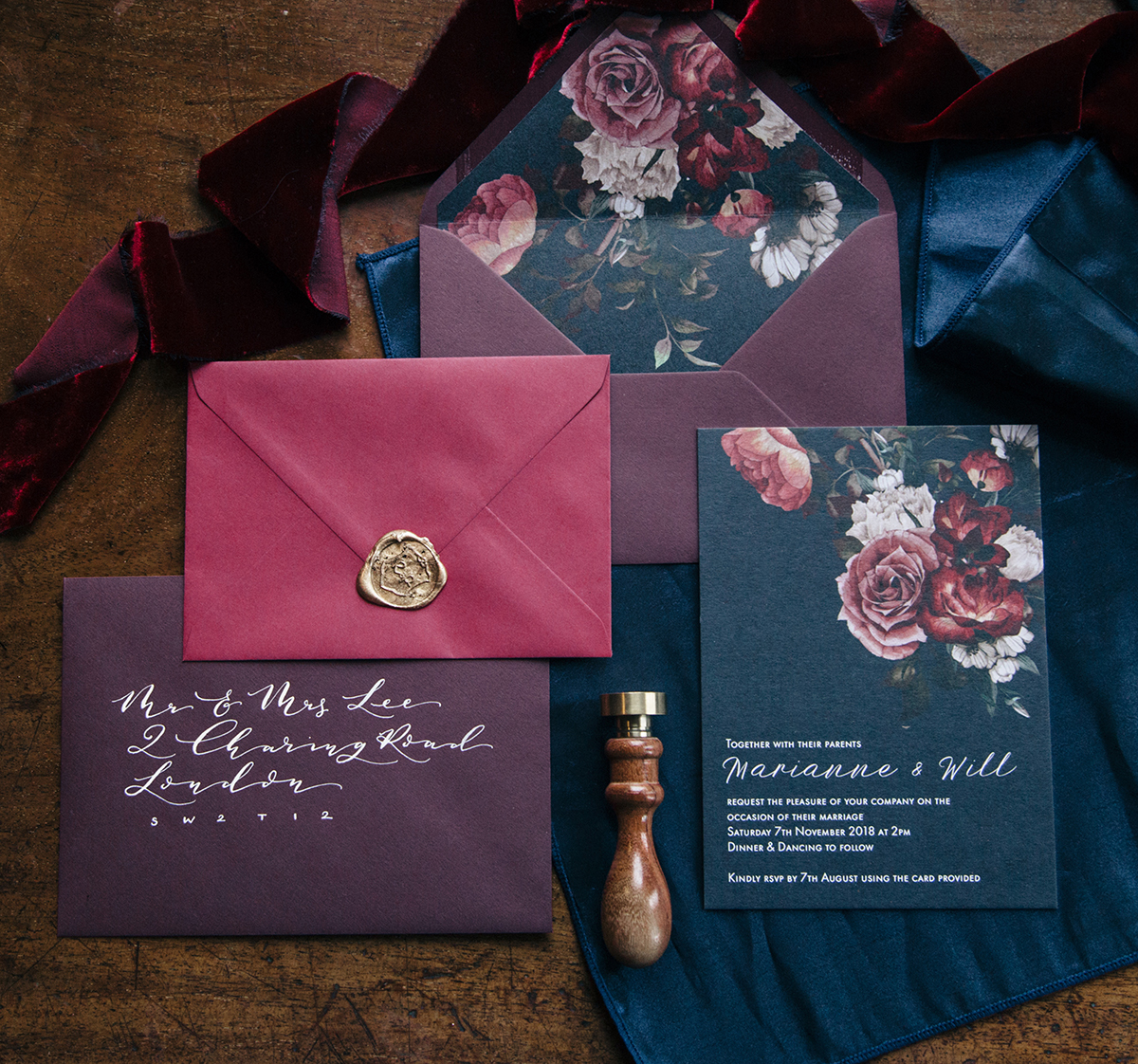 navy and claret floral wedding invitations