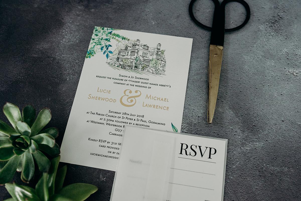 bespoke gold foil printed wedding invitation