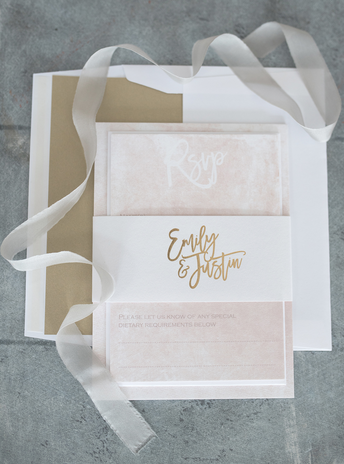 blush gold and marble foil printed wedding stationery