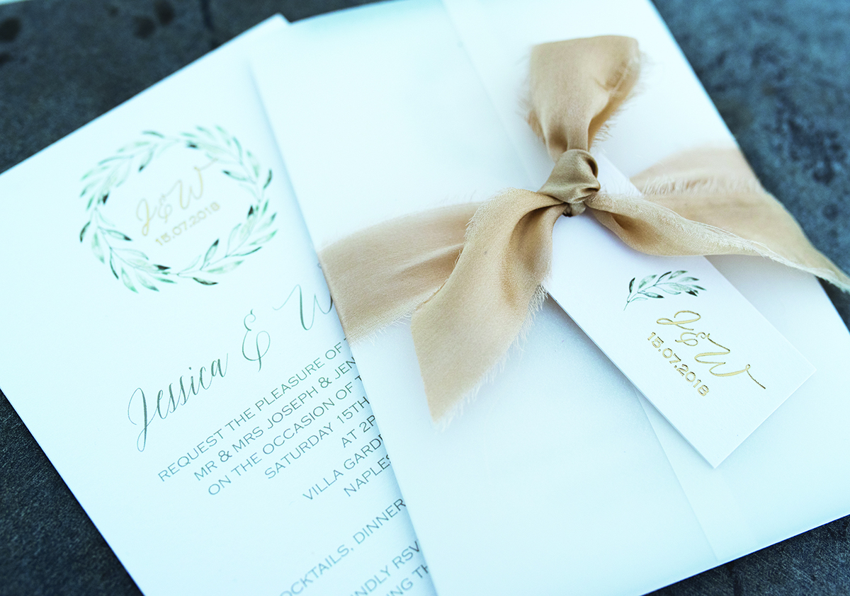 italian romance foil printed wedding stationery knots & kisses