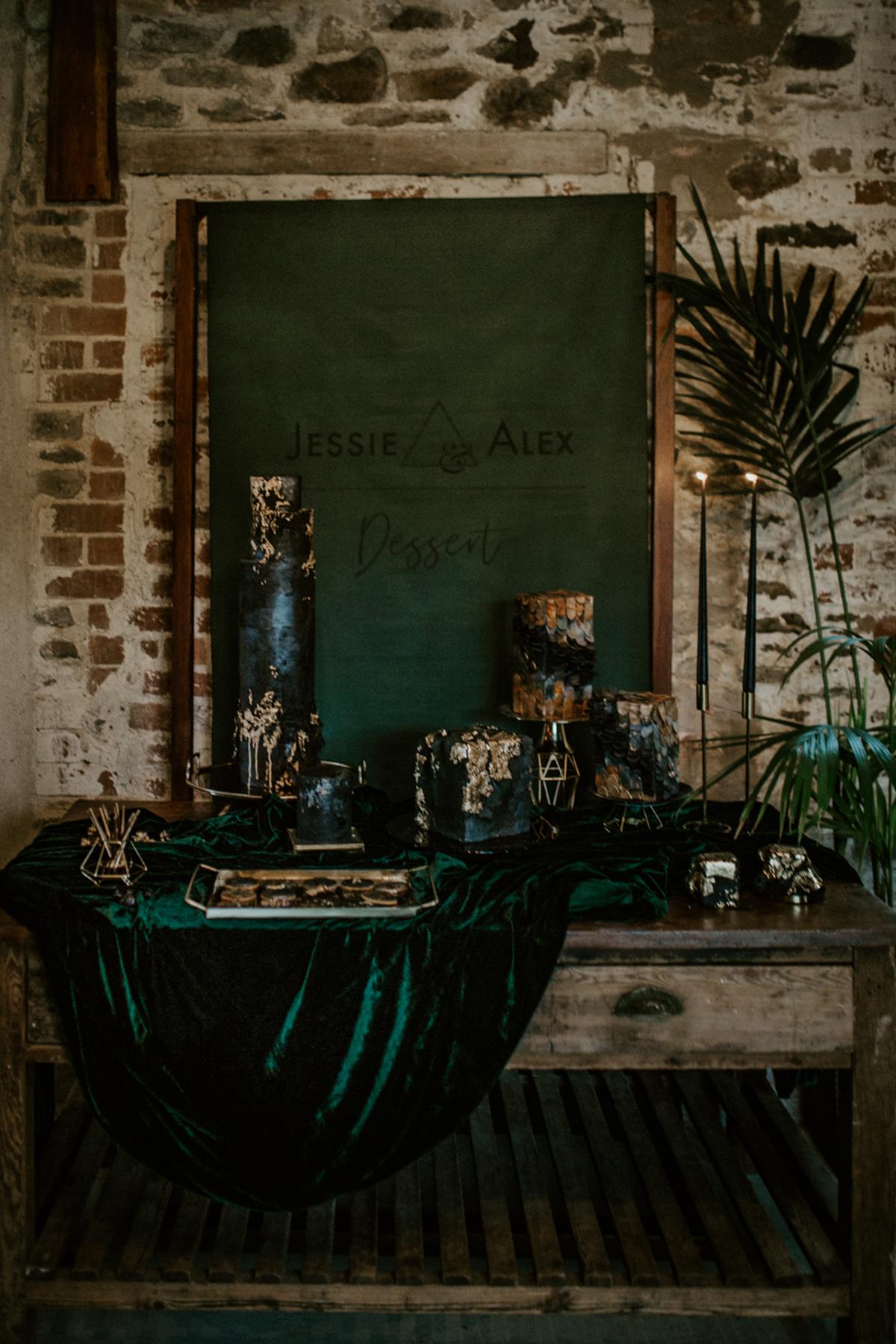 dark moody wedding dessert station