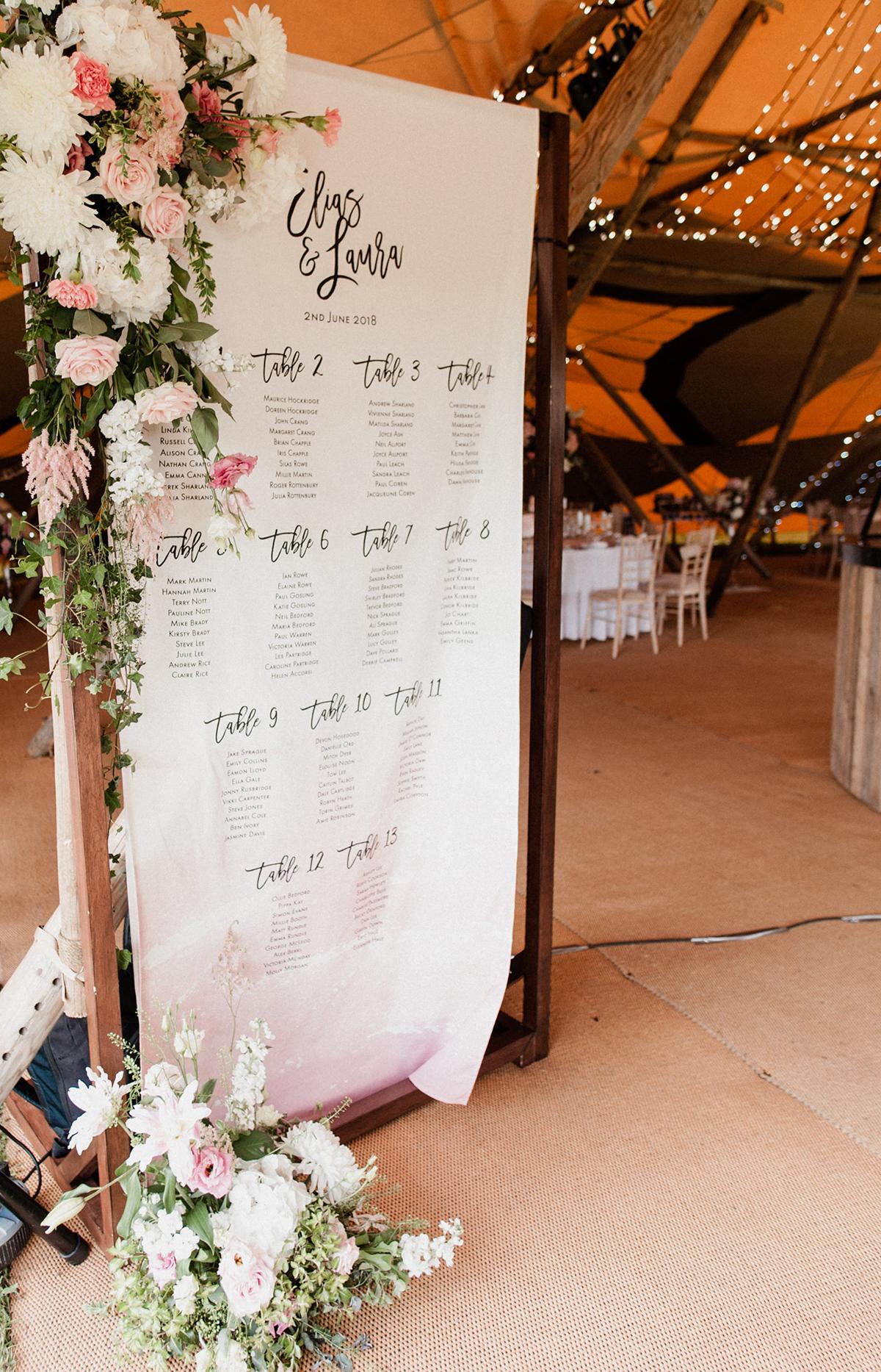 bespoke table plan inspiration