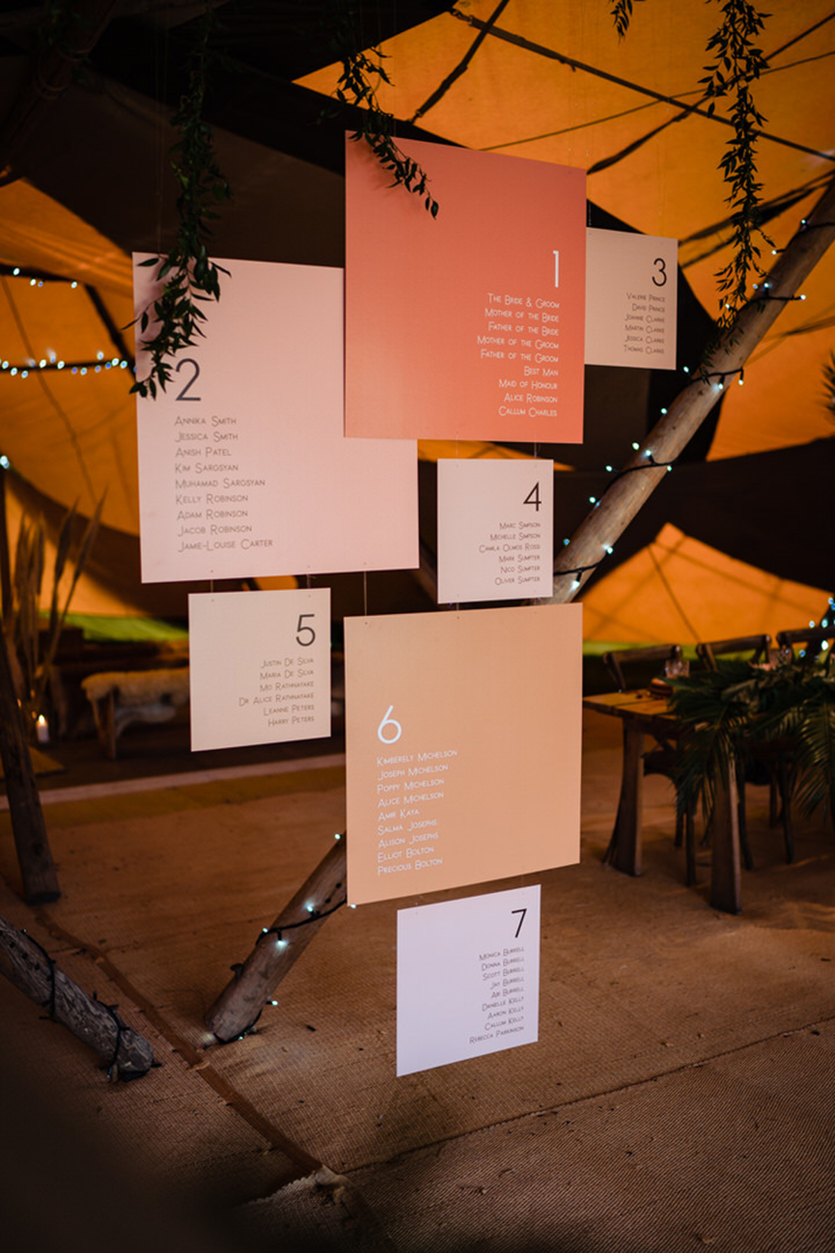 bespoke table plan inspiration hanging installation