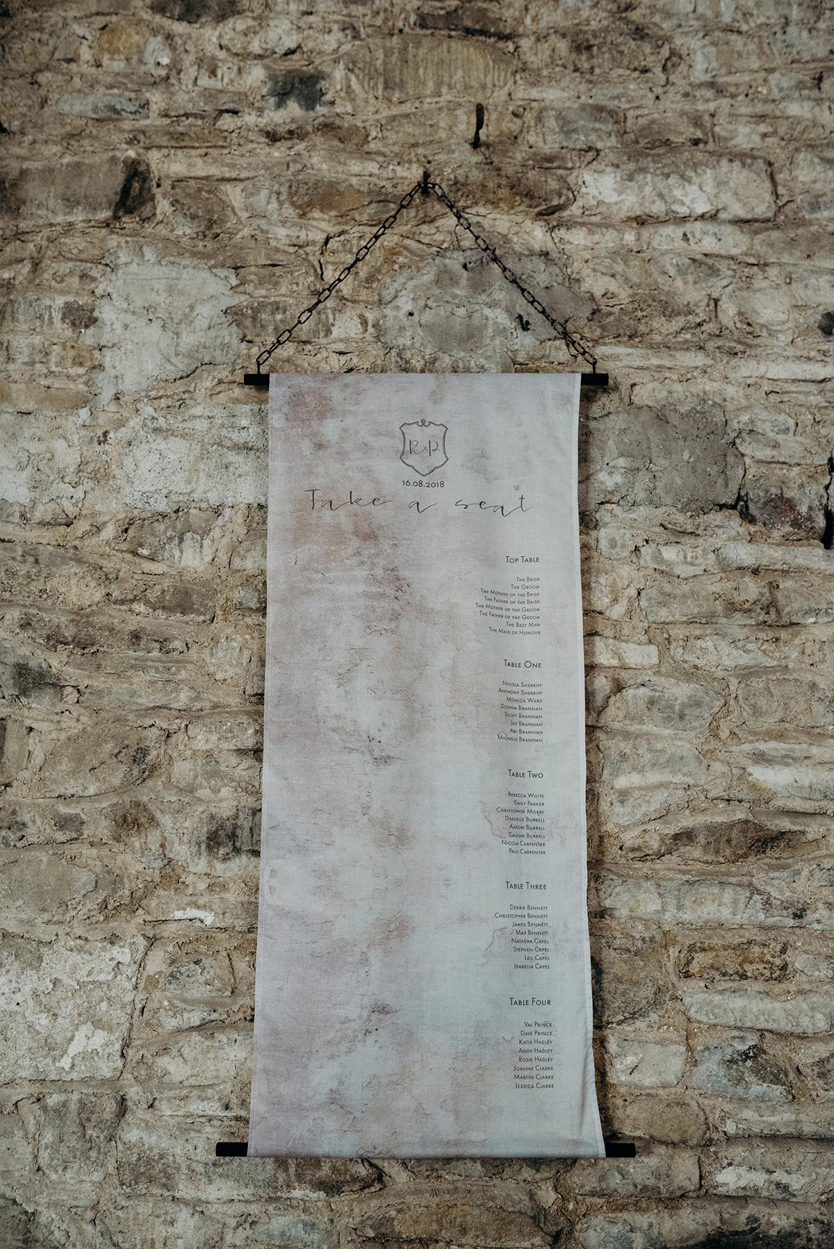 Knots & Kisses bespoke hanging fabric table plan