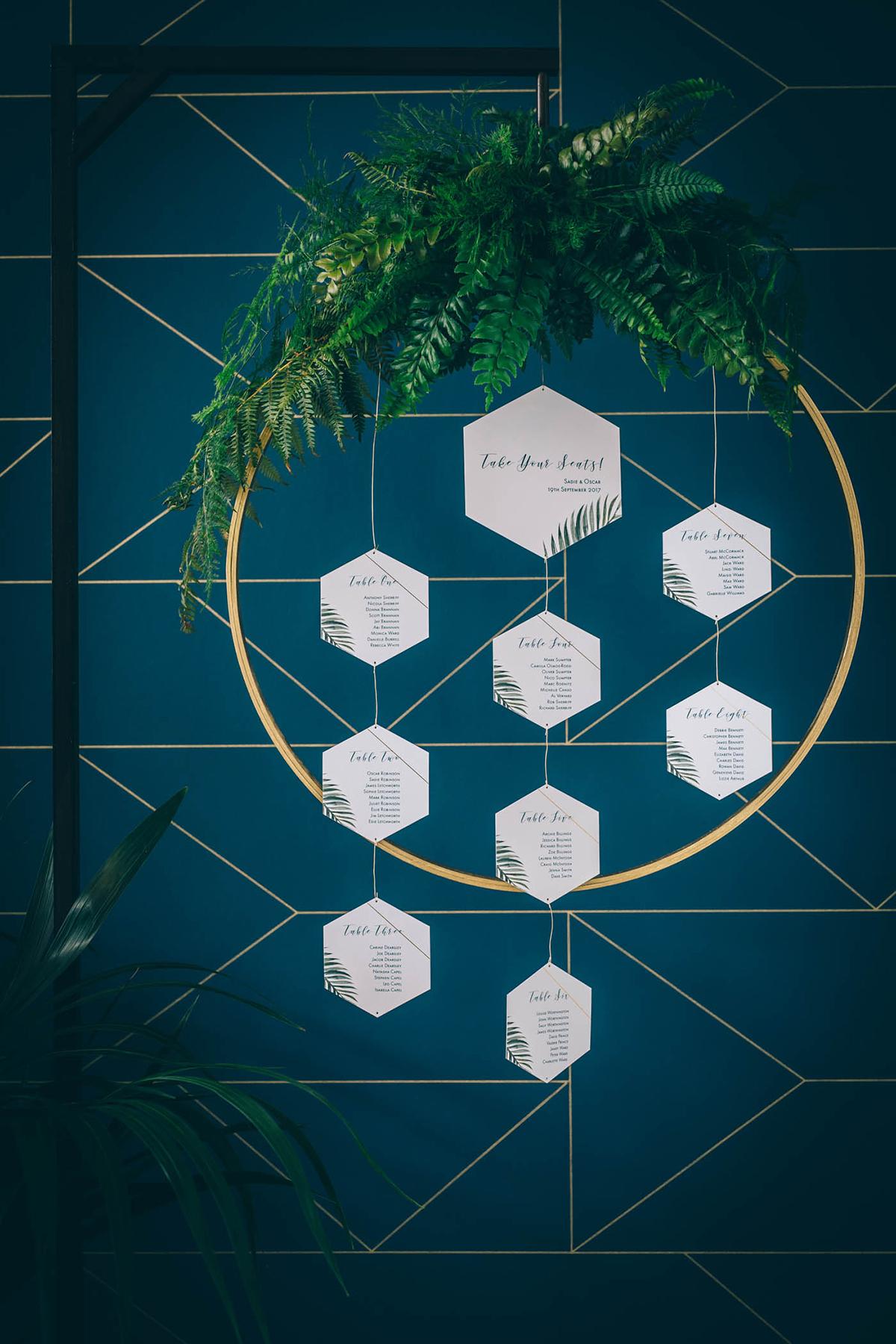bespoke hanging table plan geometric botanical print