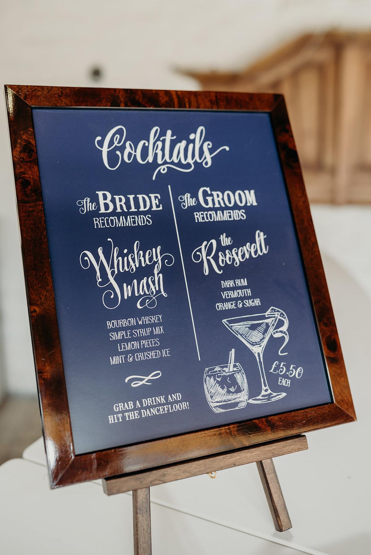 hand painted cocktail menu bespoke wedding sign