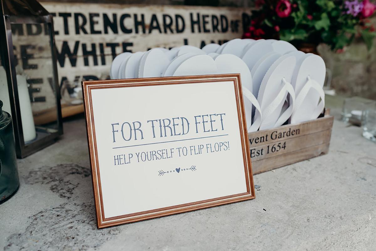 for tired feet flipflop bespoke wedding sign