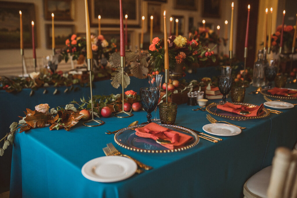 autumnal tablescape micro wedding Deer Park Country House