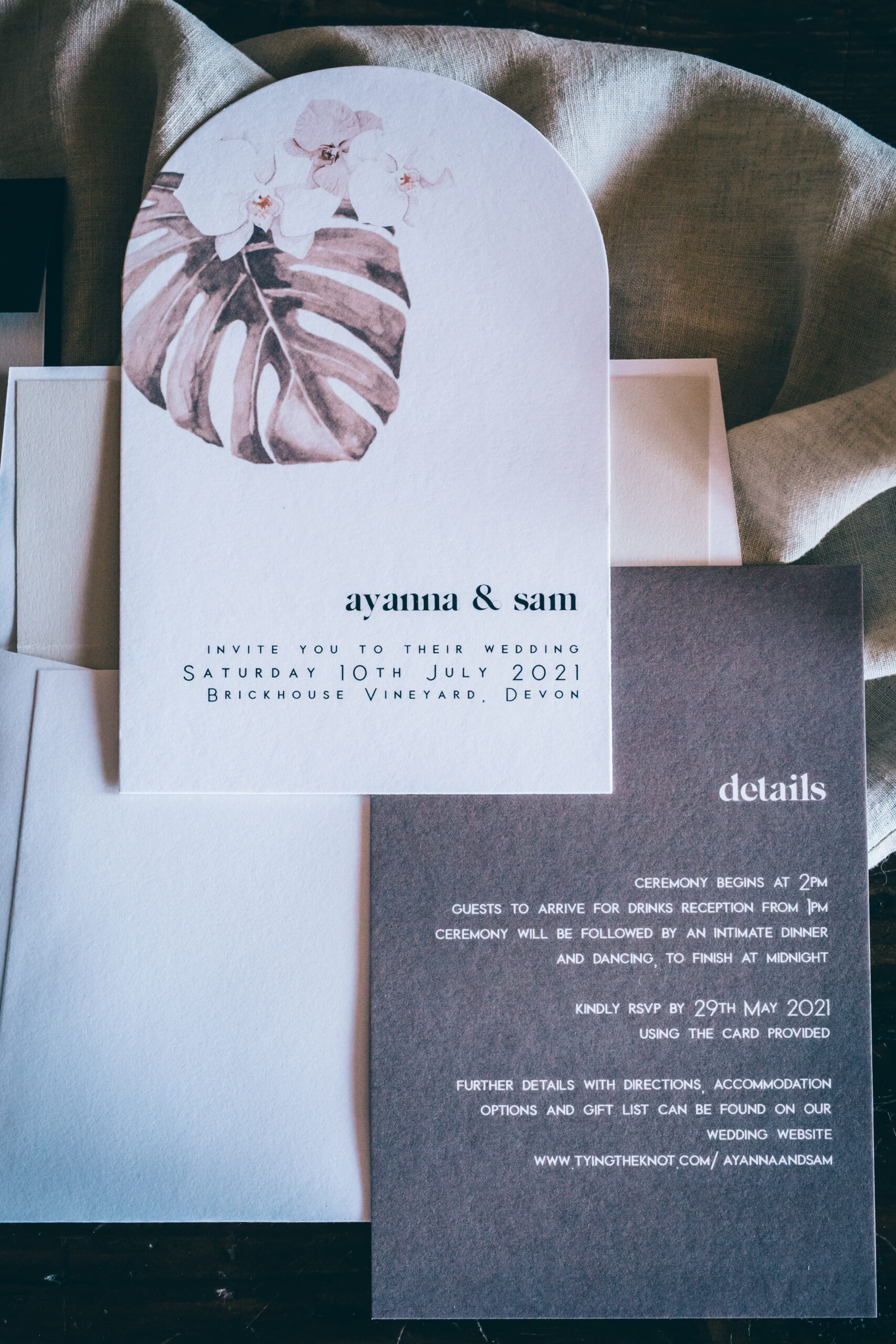 boho luxe informal wedding stationery