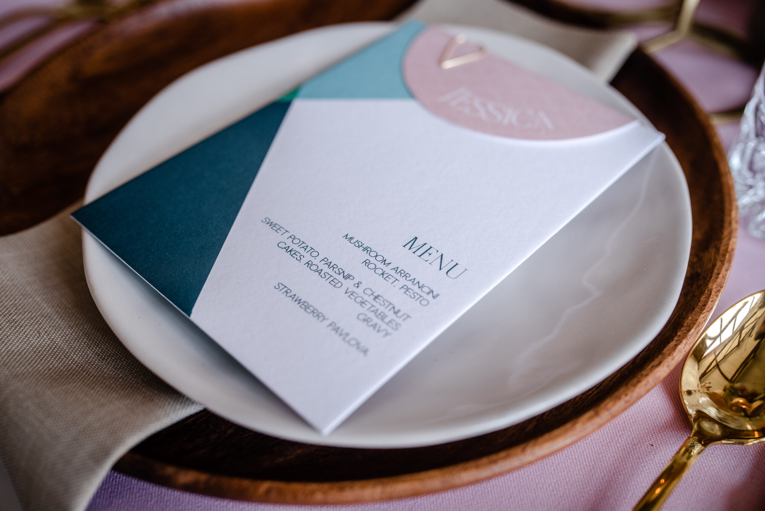 pastel geometric on-the-day wedding stationery