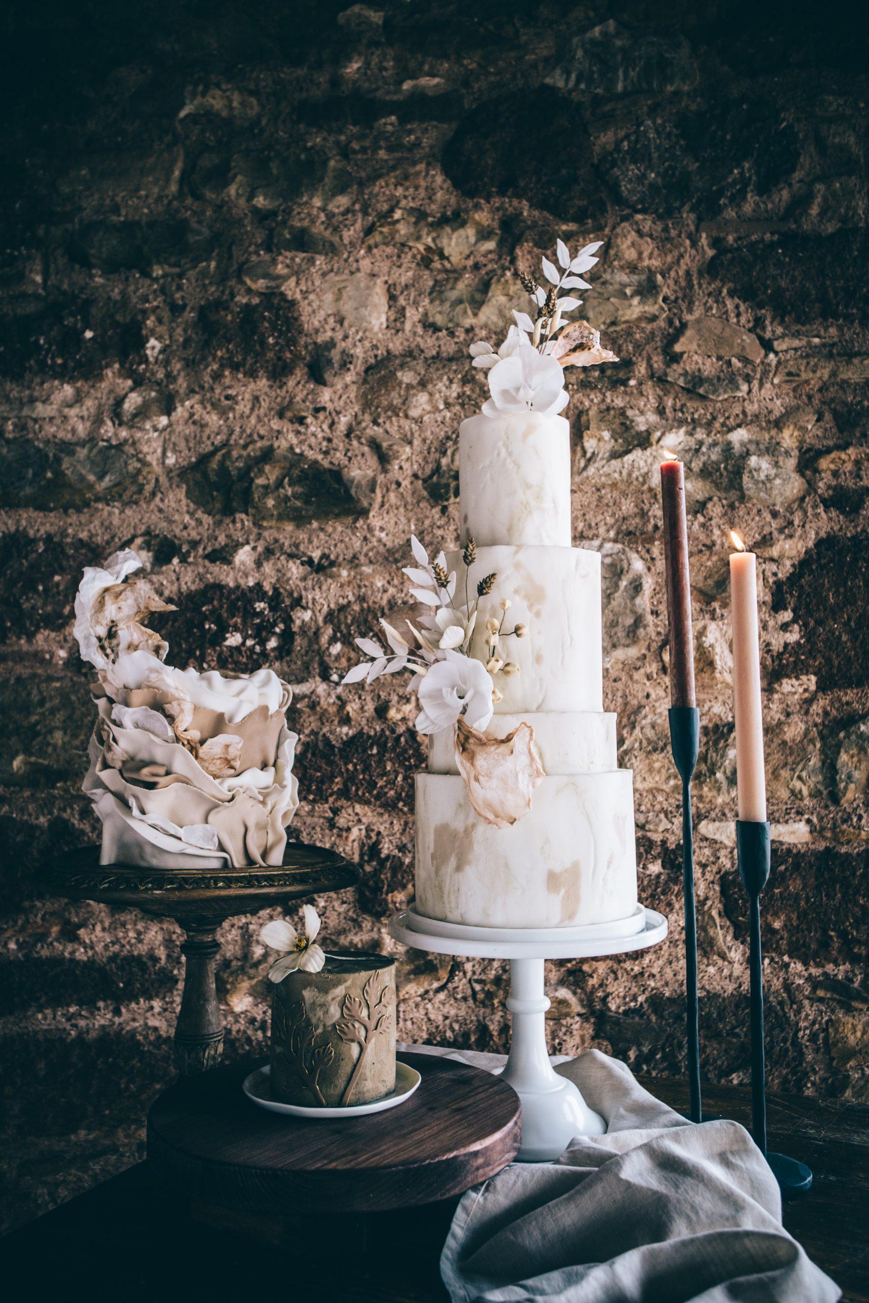 boho luxe ruffled wedding cake tiered wedding cake