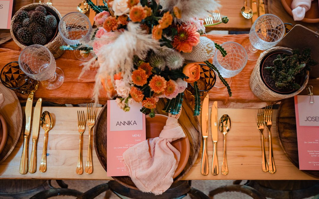 dried flowers pampas grass pink and orange wedding tablescape